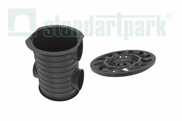 Комплект: Дождесборник S'park ДС-25-ПП круглый пластиковый с решеткой водоприемной платиковой кл. А